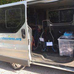 Ayer nos fuimos con el taller movil y varias sillas a Móstoles donde habíamos quedado con tres familias para poner ruedas a sus chicos.